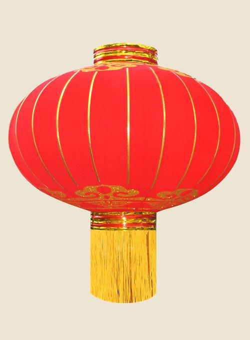铁口绒布红纱宫灯